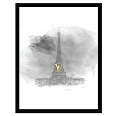 Louis Vuitton Paris Eiffel Tower - Grey / Gold - 14x18 Framed Print,