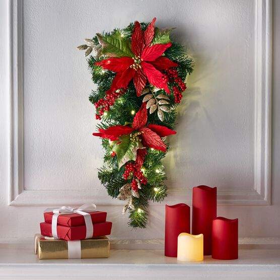 """24"""" Pre-Lit Poinsettia Swag, RED"""