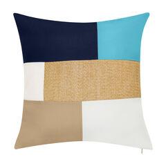 Indoor & Outdoor Colorblock Raffia Reversible Decorative Pillow,