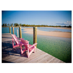 Pink Chairs Outdoor Canvas Art,