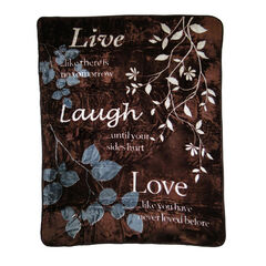 Printed Oversized Throw, LIVE LOVE LAUGH