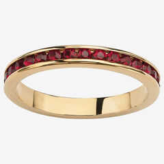 Yellow Gold Plated Simulated Birthstone Eternity Ring,