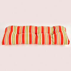 Tufted Wicker Settee Cushion, CHERRY BAJA STRIPE