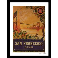 Vintage San Francisco Bridge 14x18 Framed Print, TAN BLUE