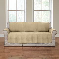 Reversible Plush Stripe Sofa Protector, GOLDEN TAN