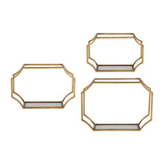 Lindee Gold Wall Shelves, Set of 3,