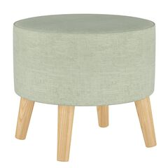 Linen Round Ottoman with Splayed Legs,