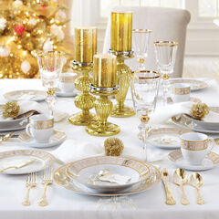 40-Pc. Golden Ceramic Dinnerware Set,