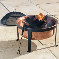 Copper Fire Pit with Black Stand,