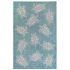 "Liora Manne Carmel Seaturtles Indoor/Outdoor Rug Aqua 23""X7'6"","
