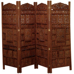 """Red Mango Wood Traditional Room Divider Screen, 72 """" x 80 """" x 1 """","""
