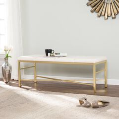 Orinda Gold Upholstered Entryway/Dining Bench,