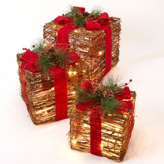 Set of 3 Pre-Lit Rattan Gift Boxes ,