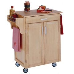Cuisine Natural Wood Kitchen Cart with Wood Top,