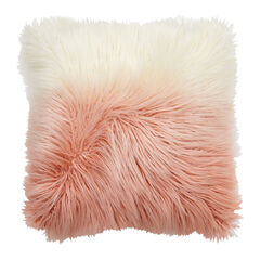 Ombré Flokati Pillow, PINK WHITE