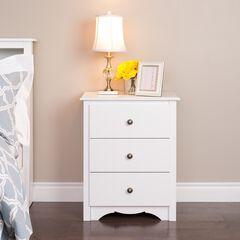 Monterey 3-Drawer Tall Nightstand, White,