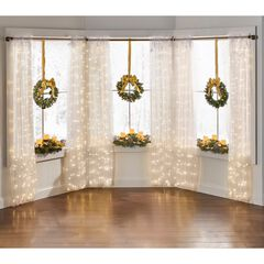 "84"" Pre-Lit Rod-Pocket Curtain Panel, WHITE"