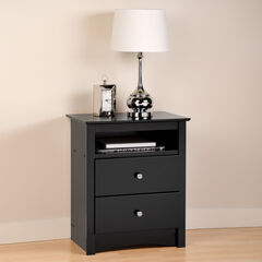 Sonoma Black 2-Drawer Tall Night Stand with Open Cubbie,