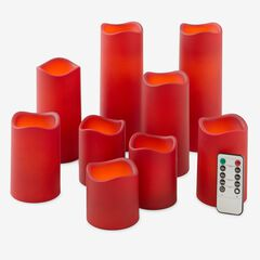 Battery-Operated Candles with Remote, Set of 9, RED