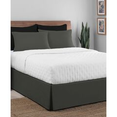"Luxury Hotel Classic Tailored 14"" Drop Grey Bed Skirt,"