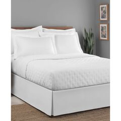 "Luxury Hotel Classic Tailored 14"" Drop White Bed Skirt,"