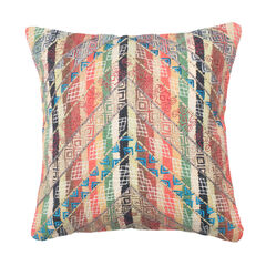 Embroidered Chevron And Stripe Woven Decorative Pillow,