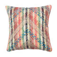 Embroidered Chevron And Stripe Woven Decorative Pillow,