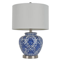 "20"" Ceramic Table Lamp, BLUE WHITE"