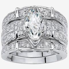 Silver Marquise Cut 3 Piece Multi Row Bridal Ring Set Cubic Zirconia,