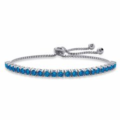 "Silver Tone Bolo Bracelet (4mm), Simulated Birthstone 9.25"" Adjustable,"
