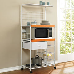 Microwave Cart, WHITE HONEY