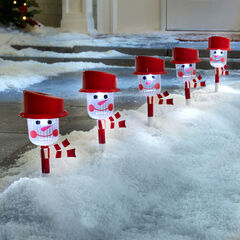 Snowman Solar Pathway Light Stakes, Set of 6,