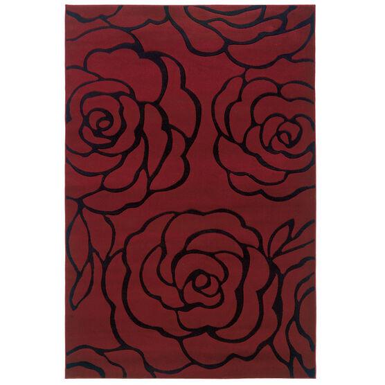 Milan Red/Black 5'X8' Area Rug, RED BLACK