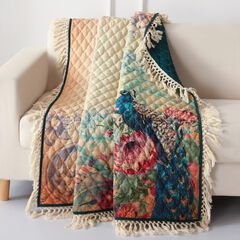 Barefoot Bungalow Eden Peacock Quilted Throw Blanket,
