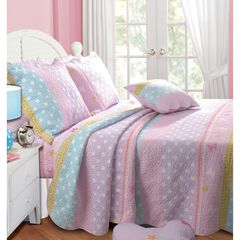 Greenland Home Fashions Polka Dot Stripe Quilt and Pillow Sham Set,