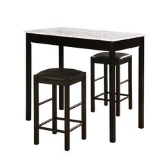 Lancer 3-Pc. Tavern Set, Faux Black Marble,