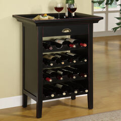 "Black with ""Merlot"" Rub through Wine Cabinet,"