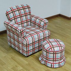Rolled Arm Chair with Round Ottoman Plaid ,