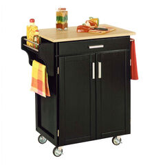 Black Finish Create a Cart with Wood Top ,