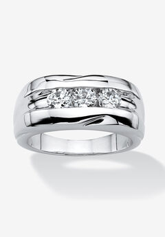 Men's Platinum Plated Cubic Zirconia 3 Stone Channel Set Wedding Band Ring,