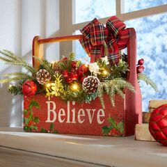 pre lit believe wooden basket