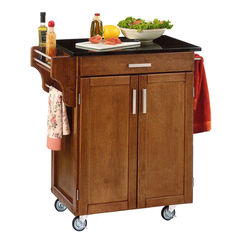 Cottage Oak Finish Create a Cart with Black Granite Top ,