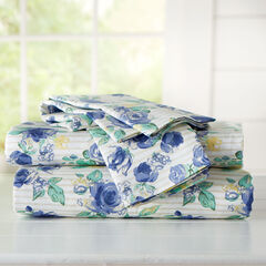 300-TC. Melody Floral Cotton Bed Tite™ Sheet Set, BLUE