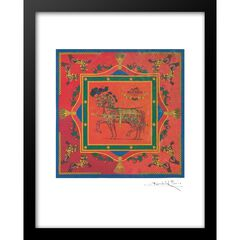 Hermes Scarf 14x18 Framed Print, ORANGE