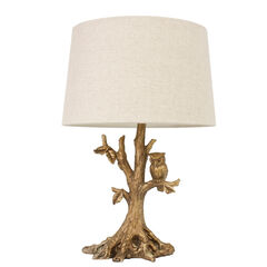 Textured Gold Leaf Owl Lamp, GOLD