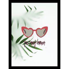 """Yves Saint Laurent Heart Sunglasses Red/Green 14"""" x 18"""" Framed Print,"""