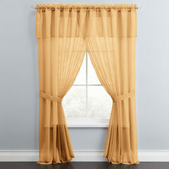 BH Studio Sheer Voile 5-Pc. One-Rod Curtain Set, GOLD