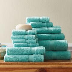 12-Pc. Zero-Twist Bath Towel Set, TURQUOISE
