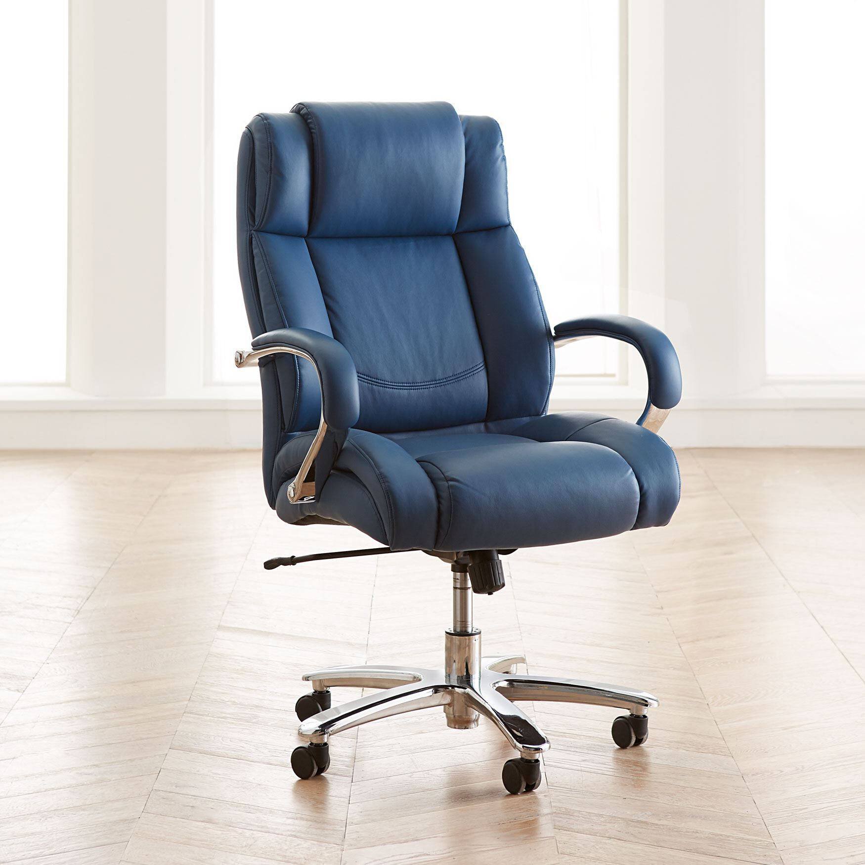 Extra Wide Chrome Finish Office Chair
