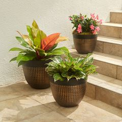 Set of 3 Waffle-Finish Planters,
